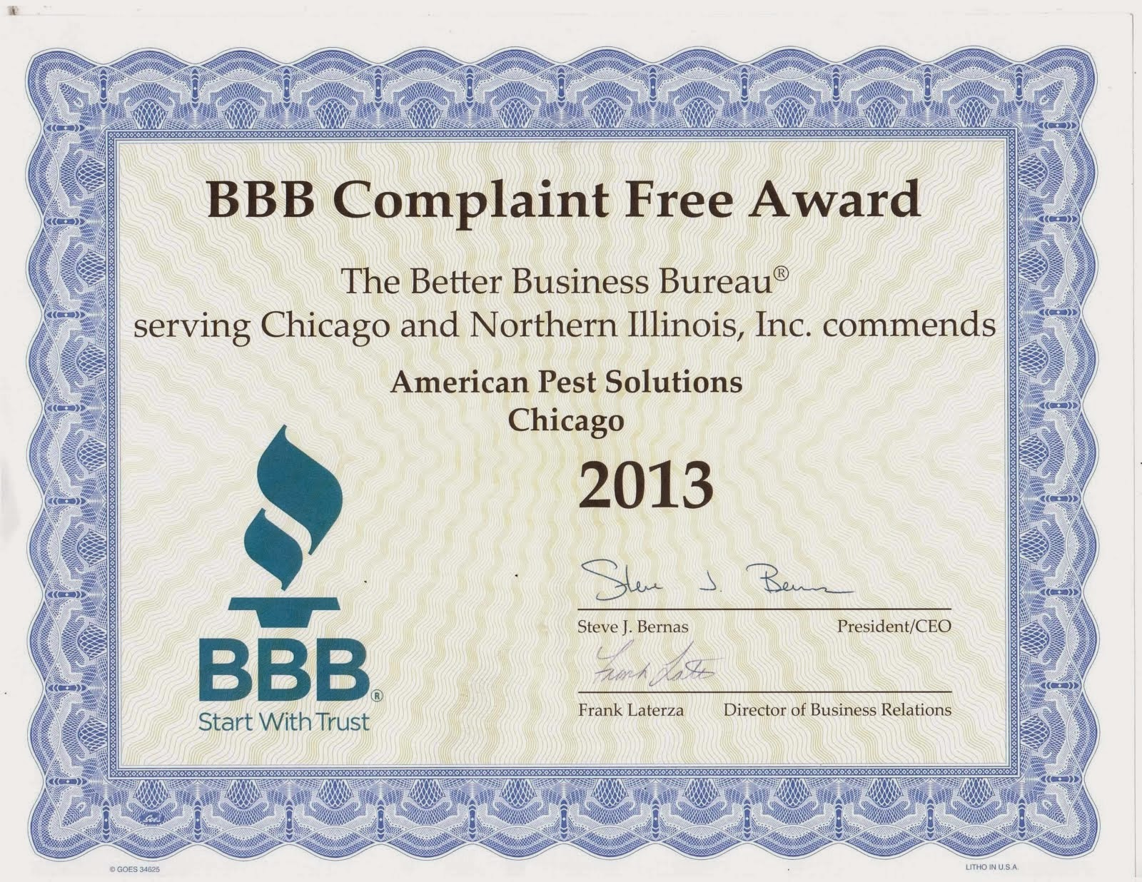 2013 Better Business Bureau Award