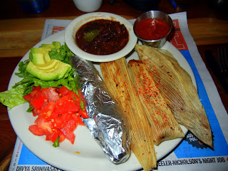 Sweet potato and pecan tamales at the  Bouldin Creek Cafe on South First
