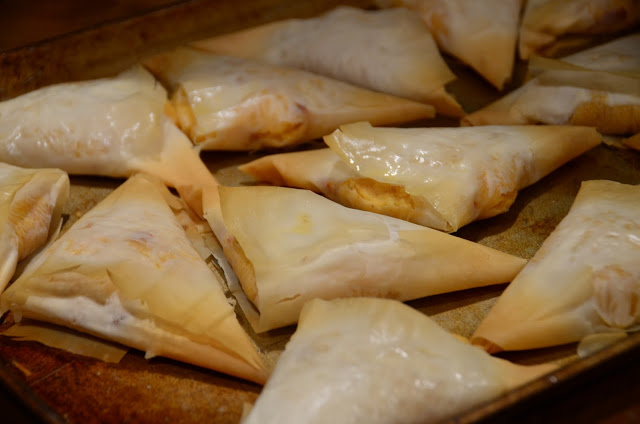 Featured Recipe | Greek Phyllo Triangles with Cheese and Potatoes from Loving Life #SecretRecipeClub #recipe #sidedish #pastry