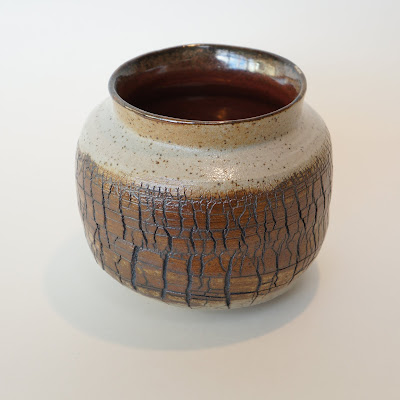 Beautiful handthrown sodium silicate crackled pottery vase by Lily.