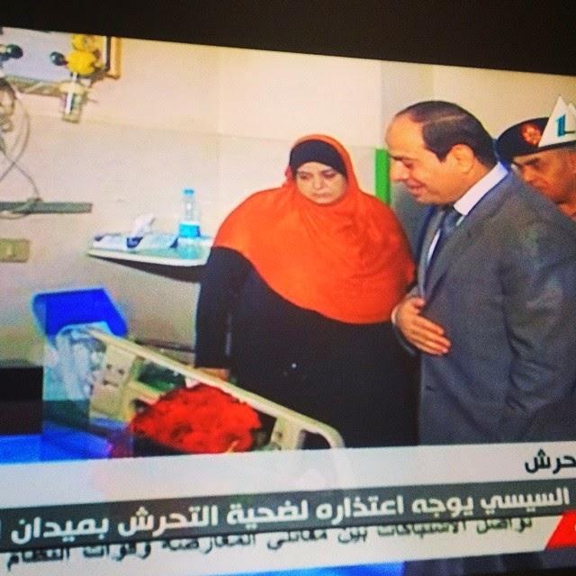 السيسى يزور المرأة التى تم الاعتداء عليها فى التحرير ويعتذر لها