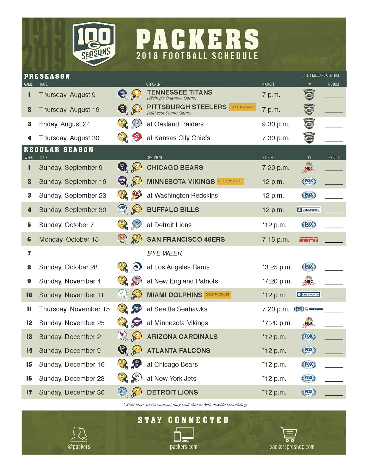 Nerdy image for green bay packer printable schedule