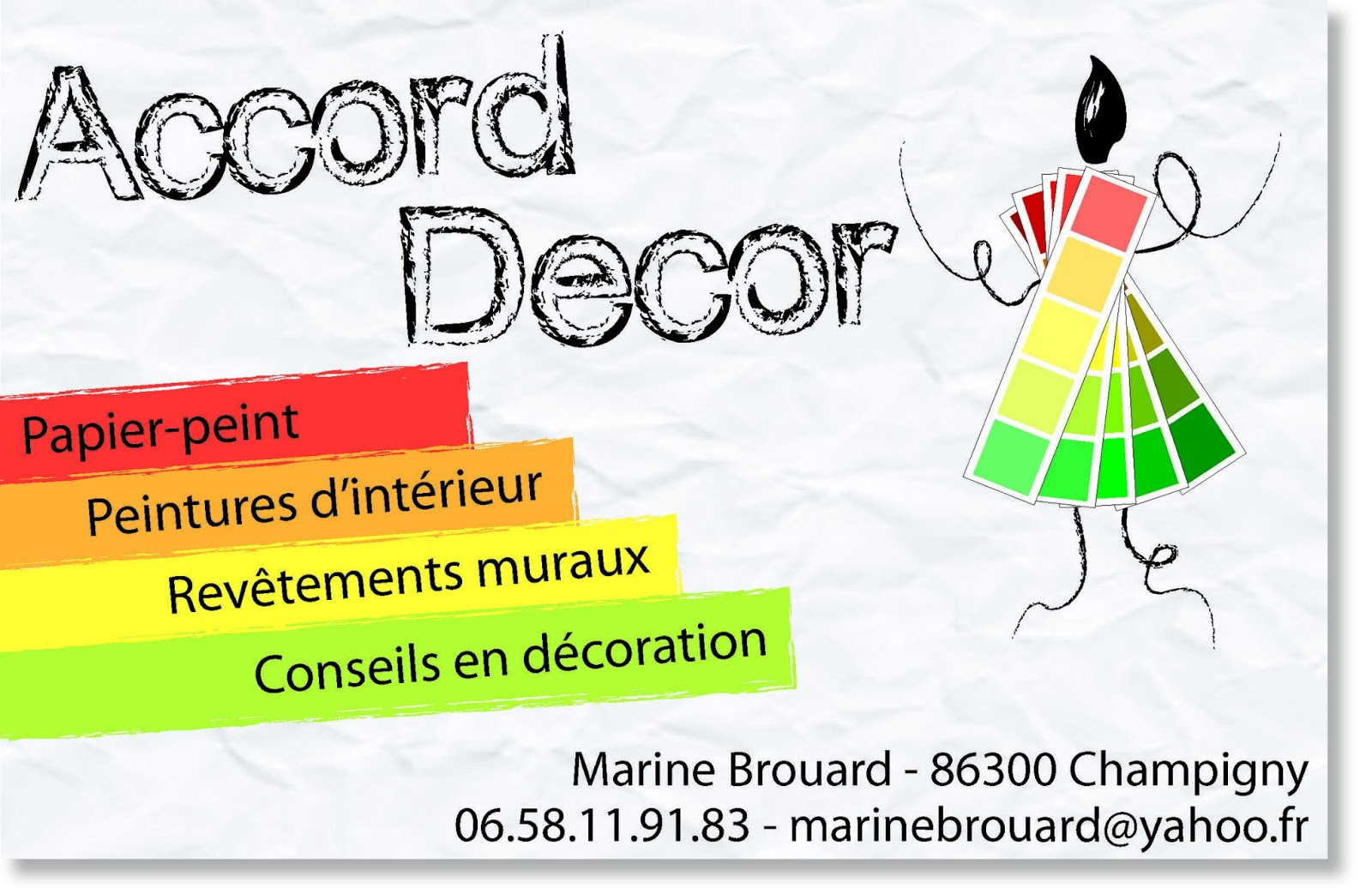 Carte De Visiste Pour L Entreprise Peinture ACCORD DECOR