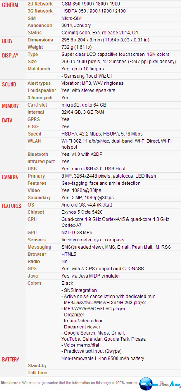 Samsung Galaxy Tab Pro 12.2 - Full phone specifications Pic