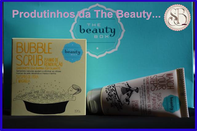 Somando Beleza, Produtinhos da The Beauty Box, Bubble Scrub, Creme para os pés de Bombom de Baunilha