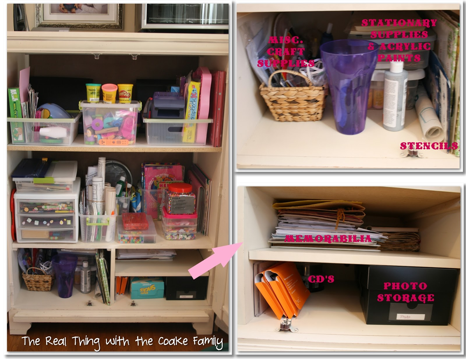 Craft supplies organization ideas - On The Left Side I Have My Additional Craft Supplies Most Of These Used To Be In A Large Basket On Top Of The Other Cabinet