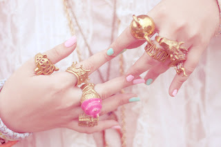jewelry,nails,colorful,cute,pastel,rings