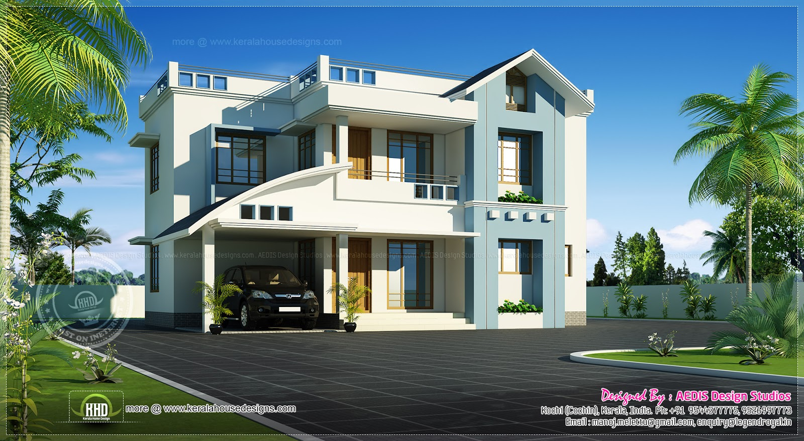 Modern mix house looks bigger than 1600 sq ft kerala for Modern house plans for 1600 sq ft