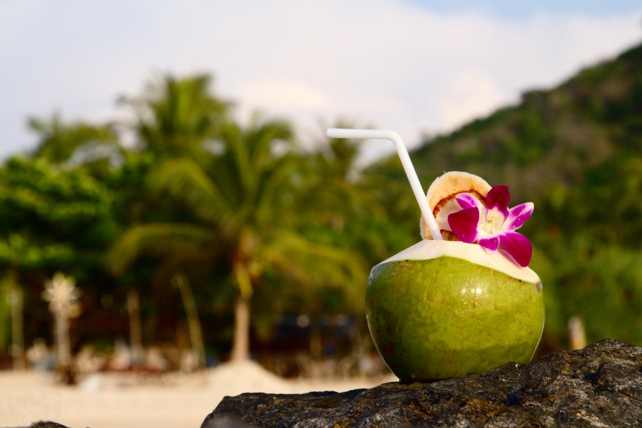 Kokosnuss-Ananas-Banane Shake in frischer Kokosnuss am Strand