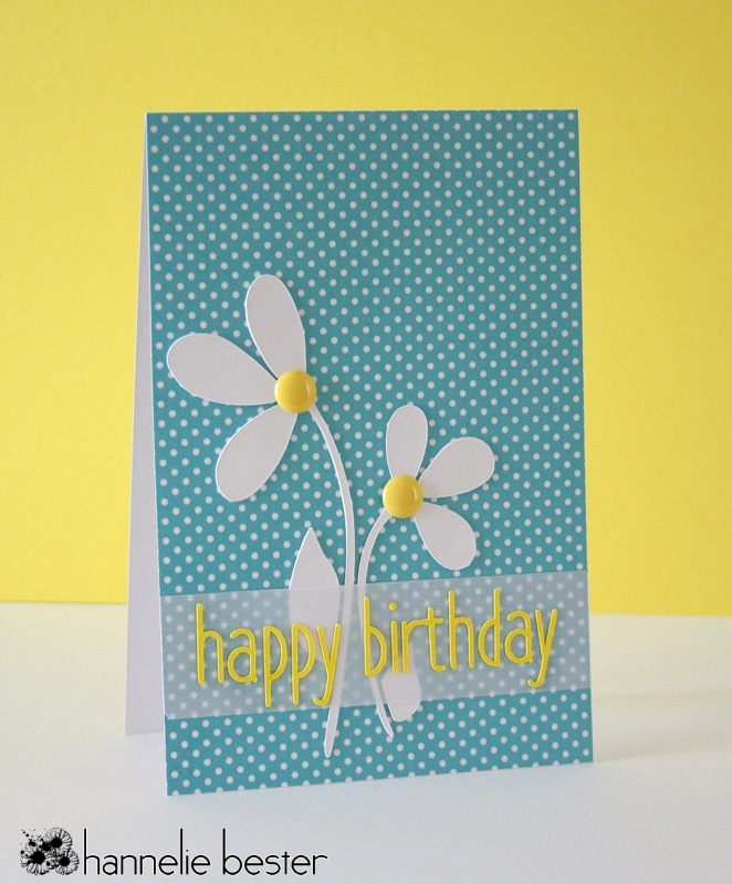 polka dots and daisies birthday card