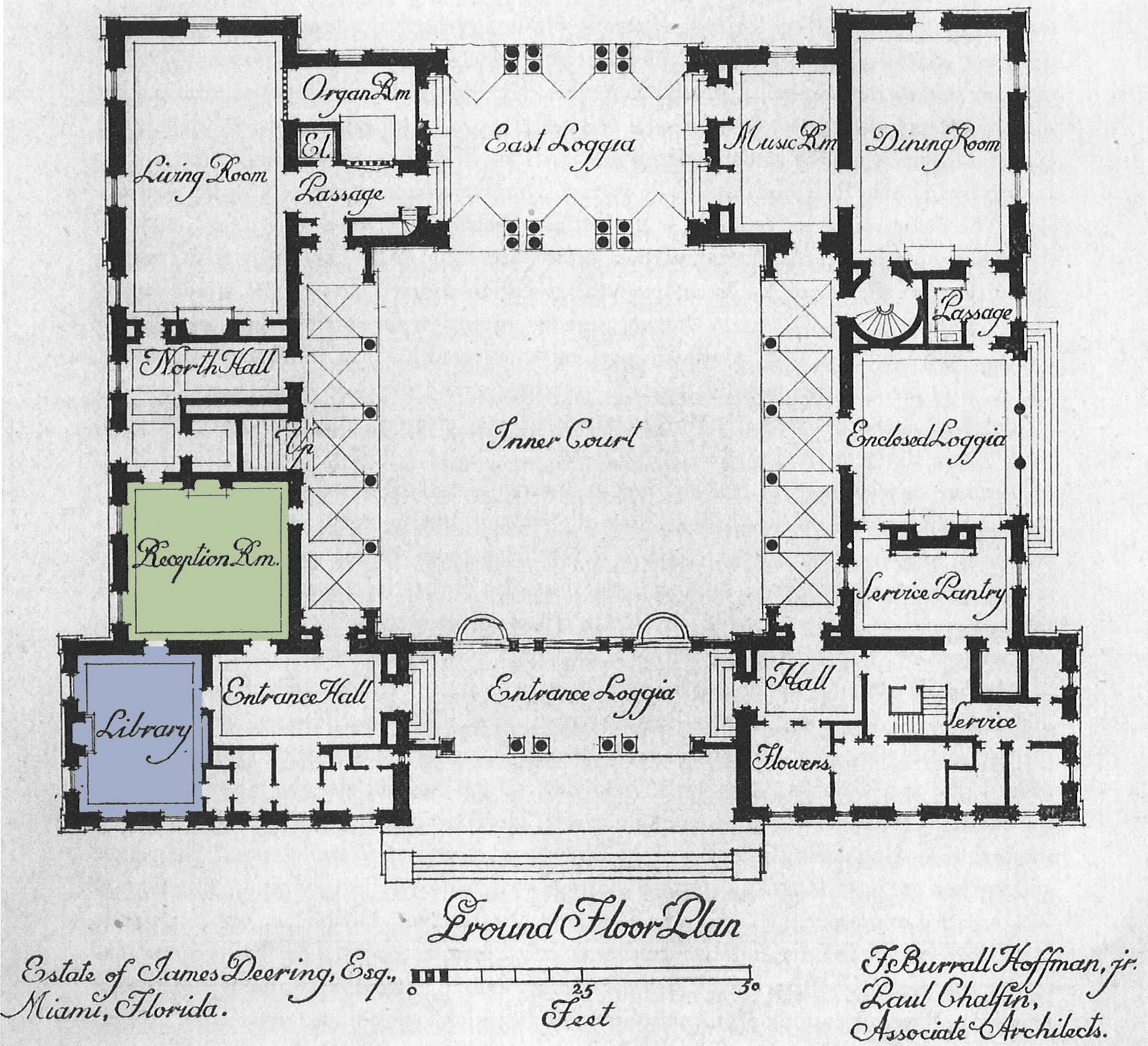 Vizcaya reception room and library design theme for Estate blueprints