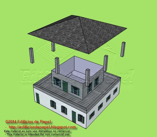 Tejado, columnas y edificio principal son los elementos de la maqueta de papel