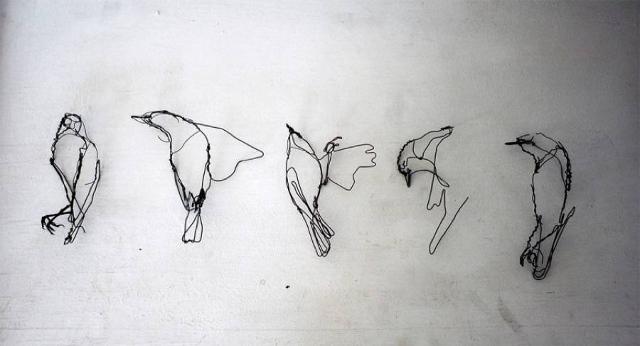 sculpture d'oiseau en fil de fer par David oliveira  , artiste d'art contemporain : les animaux dans l'art