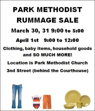 3-30/31-4-1 Park Methodist Rummage Sale
