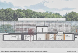 Drawing of the new building for the Queen Elisabeth Music Chapel in Belgium