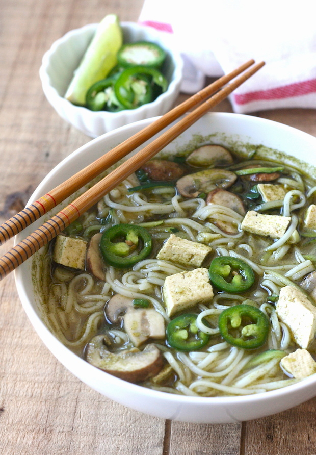 Vegetarian Thai Green Curry Noodle Soup recipe by SeasonWithSpice.com