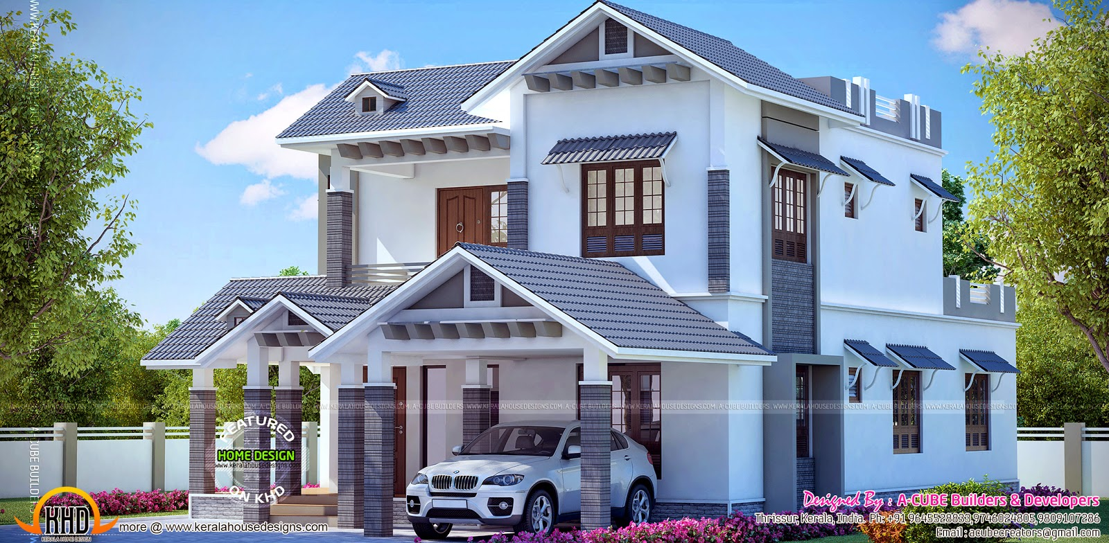 Beautiful kerala model house kerala home design and for Latest model house design