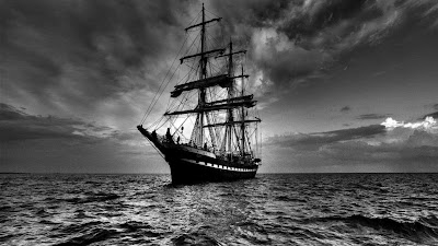 Monochrome Ship At Sea Wallpaper
