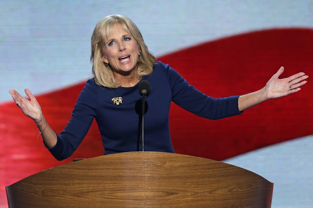 Dr. Jill Biden, wife of Vice President Joe Biden, addresses the Democratic National Convention