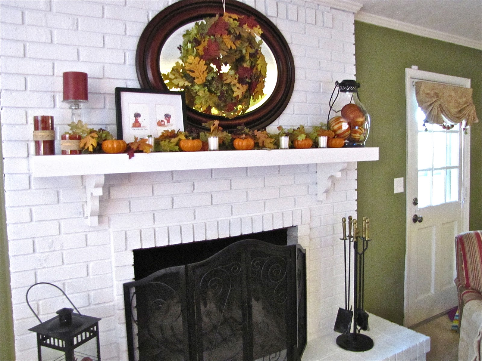 The Modest Homestead: Brick Fireplace Makeover and Fall Decor