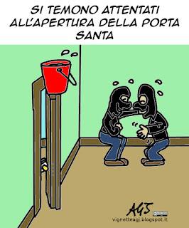 Isis, giubileo, porta santa, papa francesco, terrorismo, satira vignetta