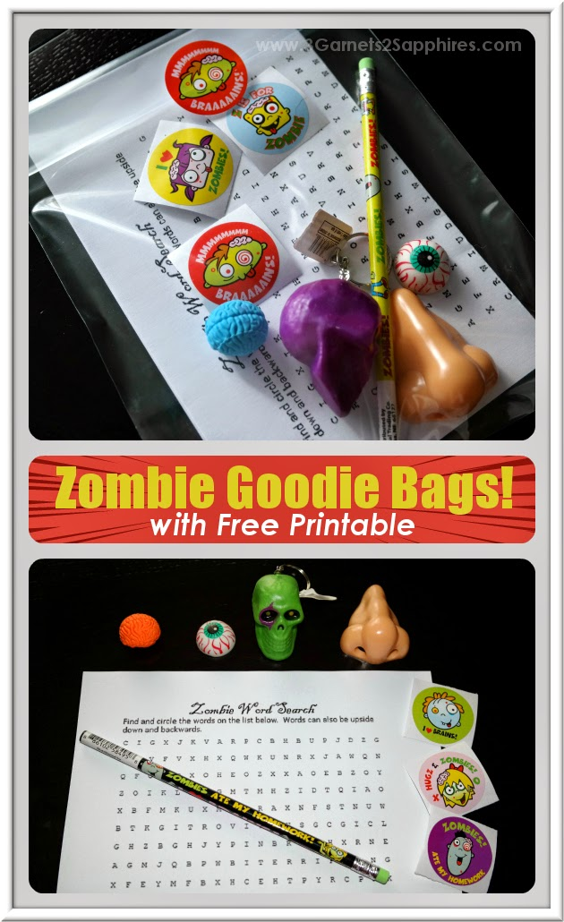 Zombie-themed goodie bags (with free printable word search activity) for classroom or birthday party favors  |  www.3Garnets2Sapphires.com
