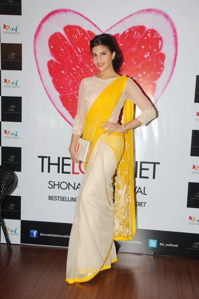 Jacqueline Fernandez in half and half saree