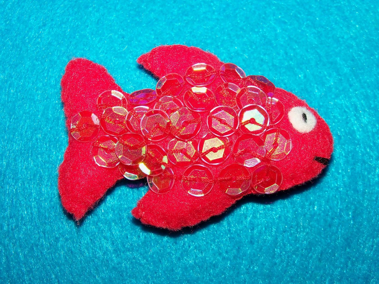 Fieltro Vemeco Broche De Fieltro Pez Rojo - Pez-de-fieltro