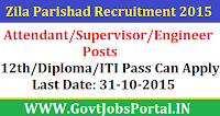 ZILA PARISHAD RECRUITMENT 2015 FOR THE VARIOUS ATTENDANT / SUPERVISOR / ENGINEER POSTS