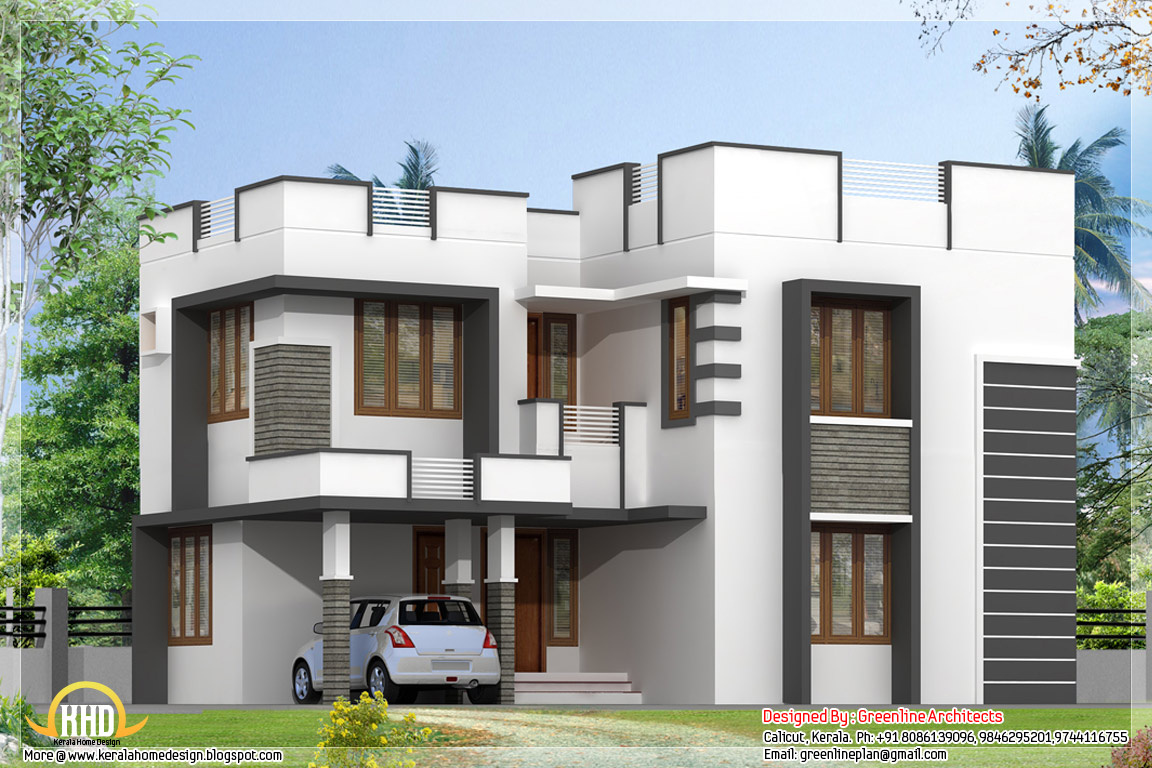 Simple modern home design with 3 bedroom kerala home Simple modern house plans
