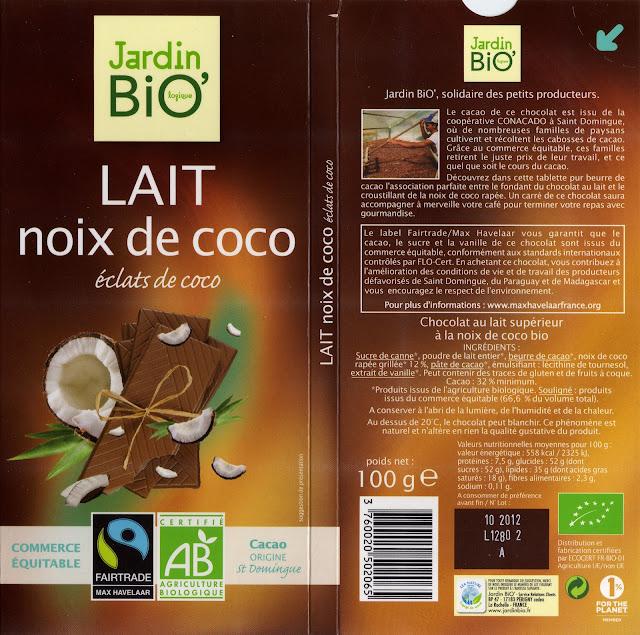 tablette de chocolat lait gourmand jardin bio lait noix de coco