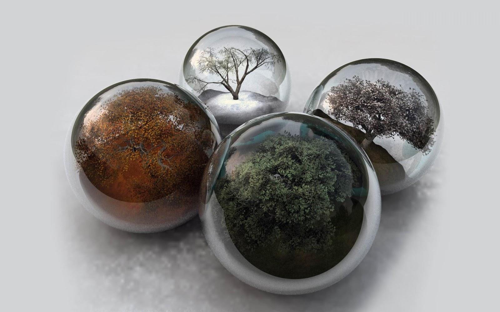 Glass+Microspheres Seasons in glass spheres ~ Mystery Wallpaper