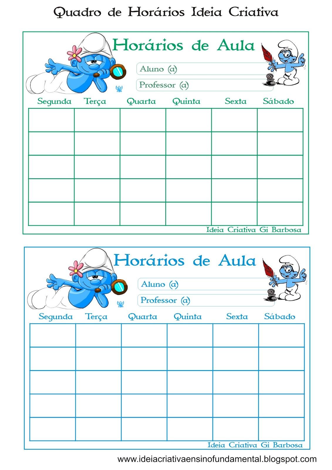 Quadro de Horários Ideia Criativa Turma da Mônica/ Smurfs e Bichinhos