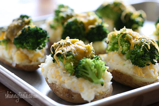 Low fat, weight watcher friendly loaded twice baked potatoes.