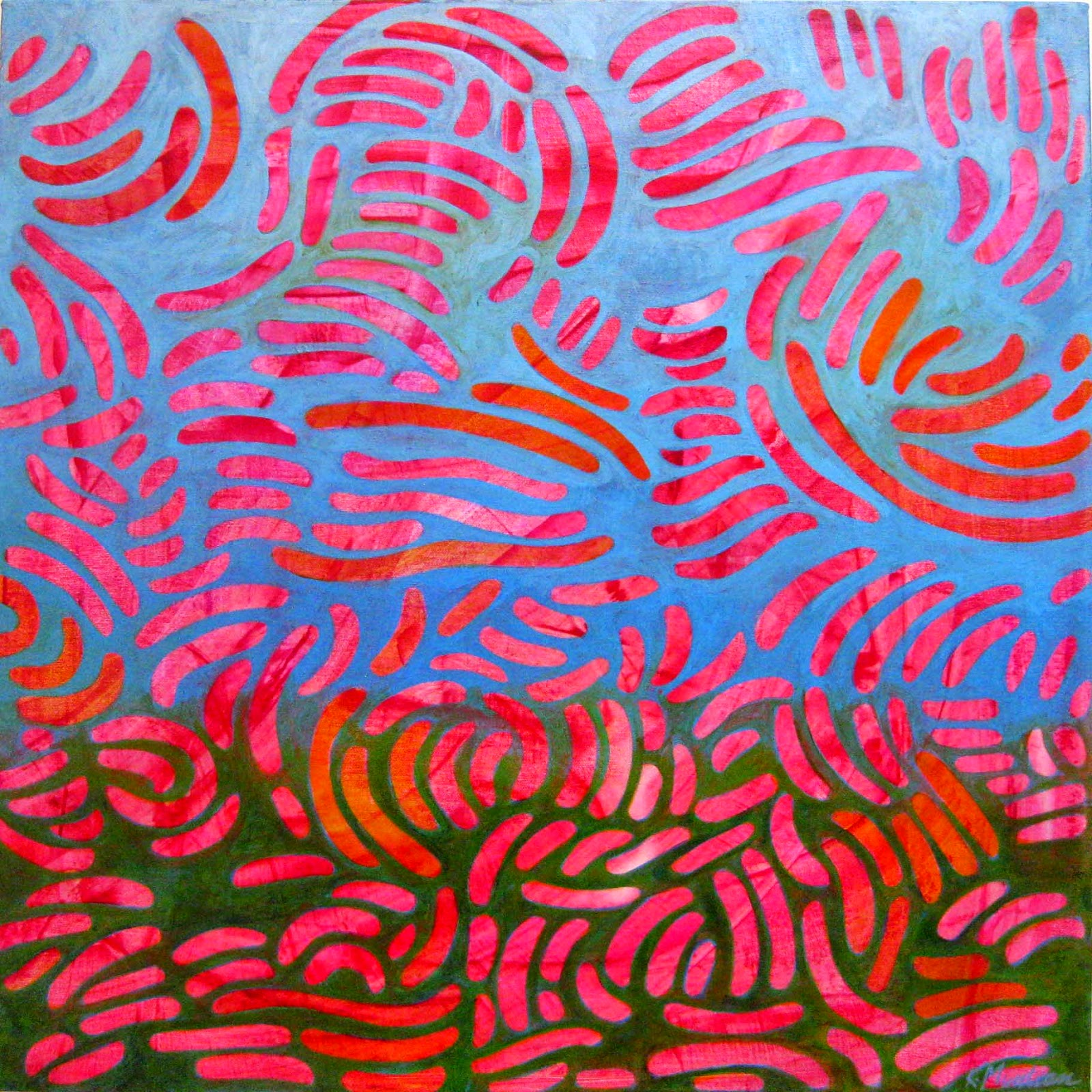"Spring Energia, acrylic on canvas, 24"" square. 2015 ©  Karen Muntean"