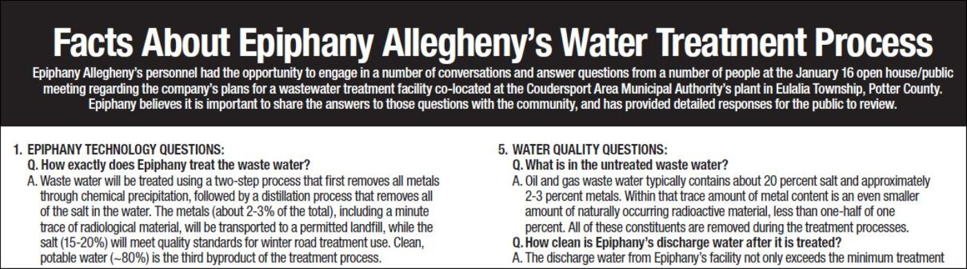 Epiphany Allegheny's Water Treatment Process