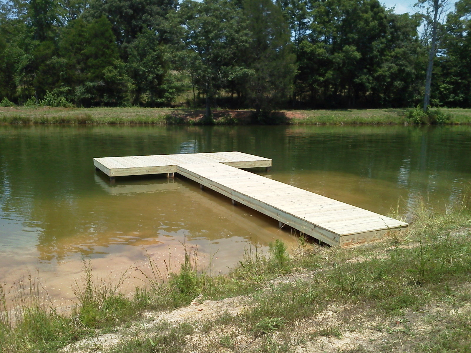 Settle docks pond stationary dock for Pond pier plans