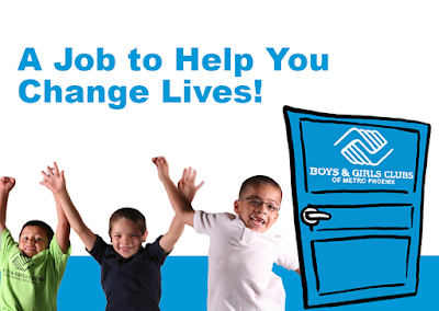 Image of kids jumping in the air, door next to them with Boys and Girls Clubs of Metro Phoenix log.  Caption: A Job that will help you change lives!