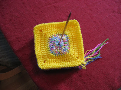 Bright Crocheted Baby Blanket in Progress