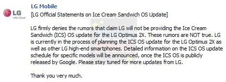 LG Optimus 2X Android 4.0 Ice Cream Sandwich Update, Firmware Upgrade