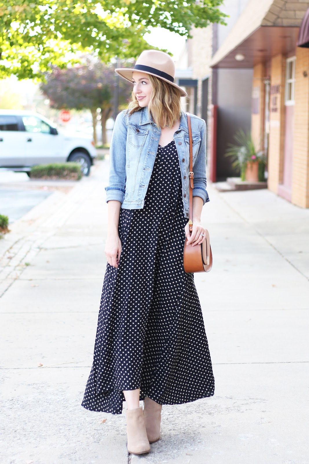 Maxi dress with denim jacket