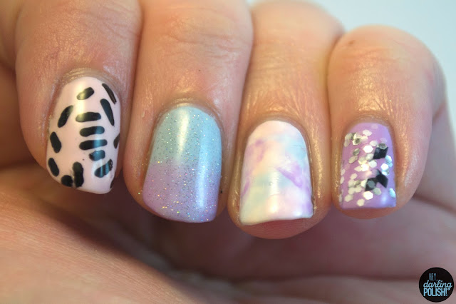 nails, nail art, nail polish, nail skittles, pastel, purple, pink, blue, hey darling polish, pattern, glitter,