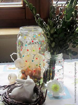 Einmachglas Marmeladeglas Glas Nagellack DIY selber machen basteln Punkte Vase Deko Recycling Upcycling