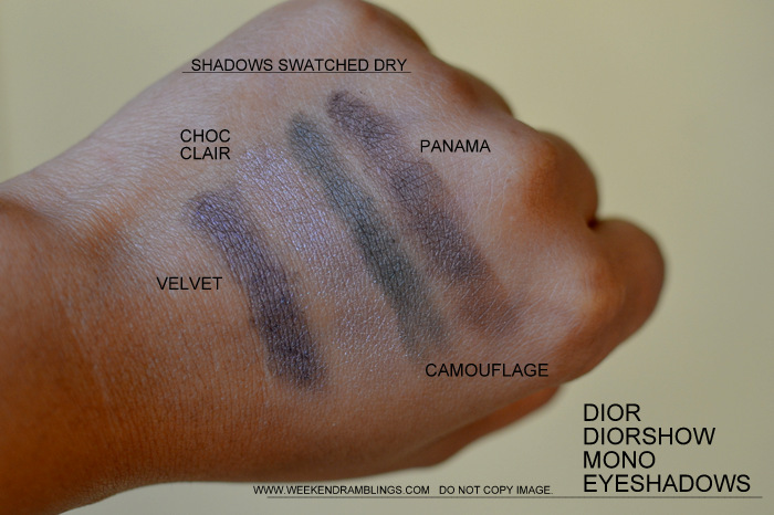 Dior Diorshow Mono Eyeshadows Velvet 783 Khaki 477 Camouflage Choc Clair 564 Panama 566 Indian Makeup Beauty Blog Swatches Wet Dry