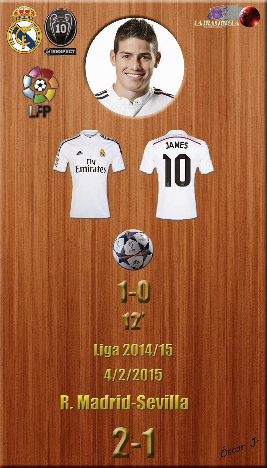 James Rodríguez (1-0) - Real Madrid 2-1 Sevilla - Liga 2014/15 - Jornada 16 - (4/2/2015)