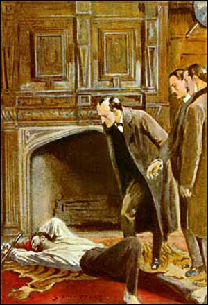 Holmes examining the corpse