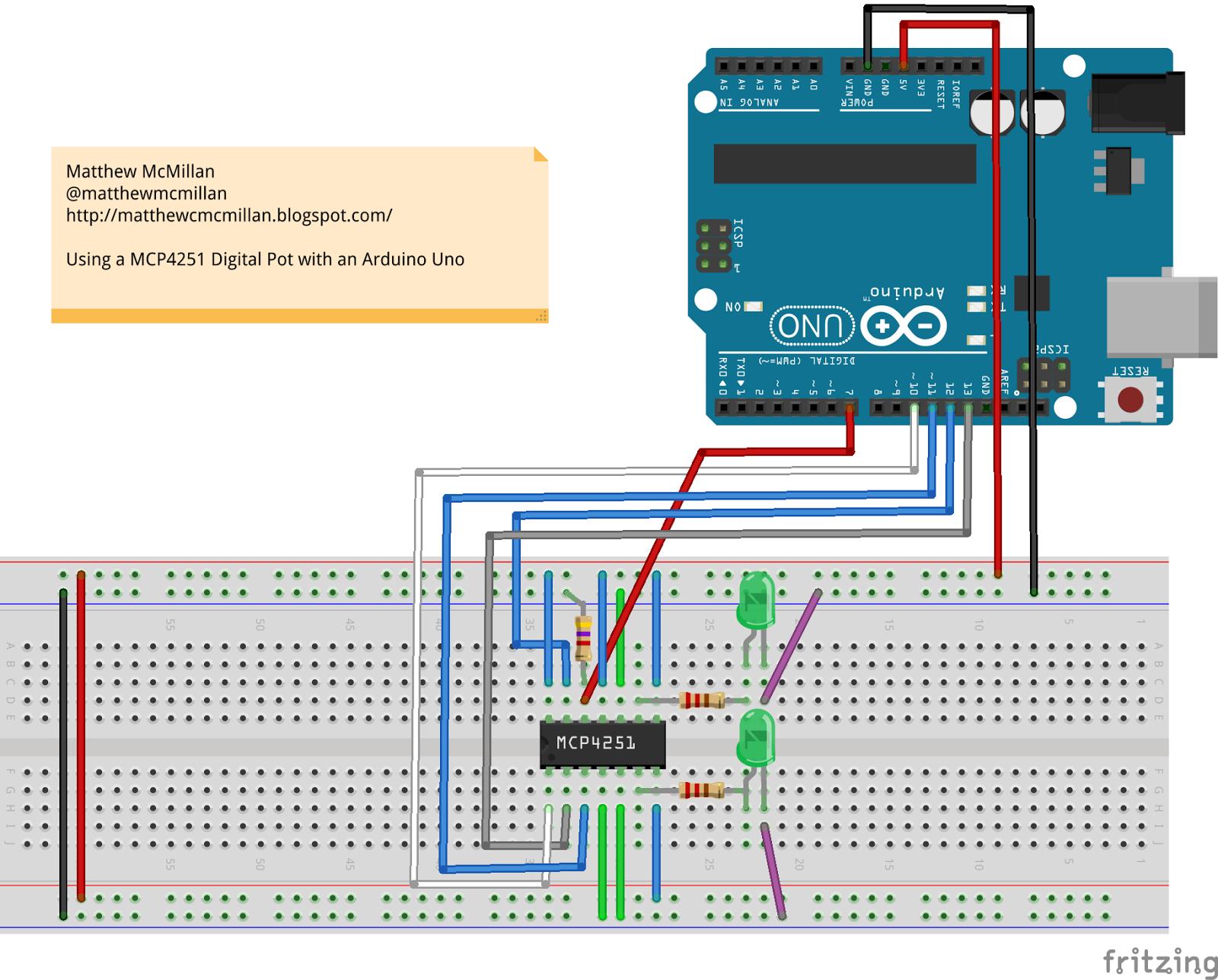 Matthew McMillan: Arduino - Using digital potentiometers part 2 ...