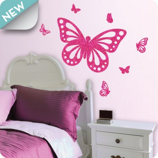 Butterfly pink interior designs bedroom to kids home for Butterfly bedroom ideas