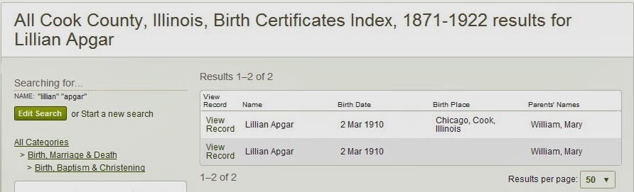 rootdig: her chicago birth is indexed twice--that has to be wrong!