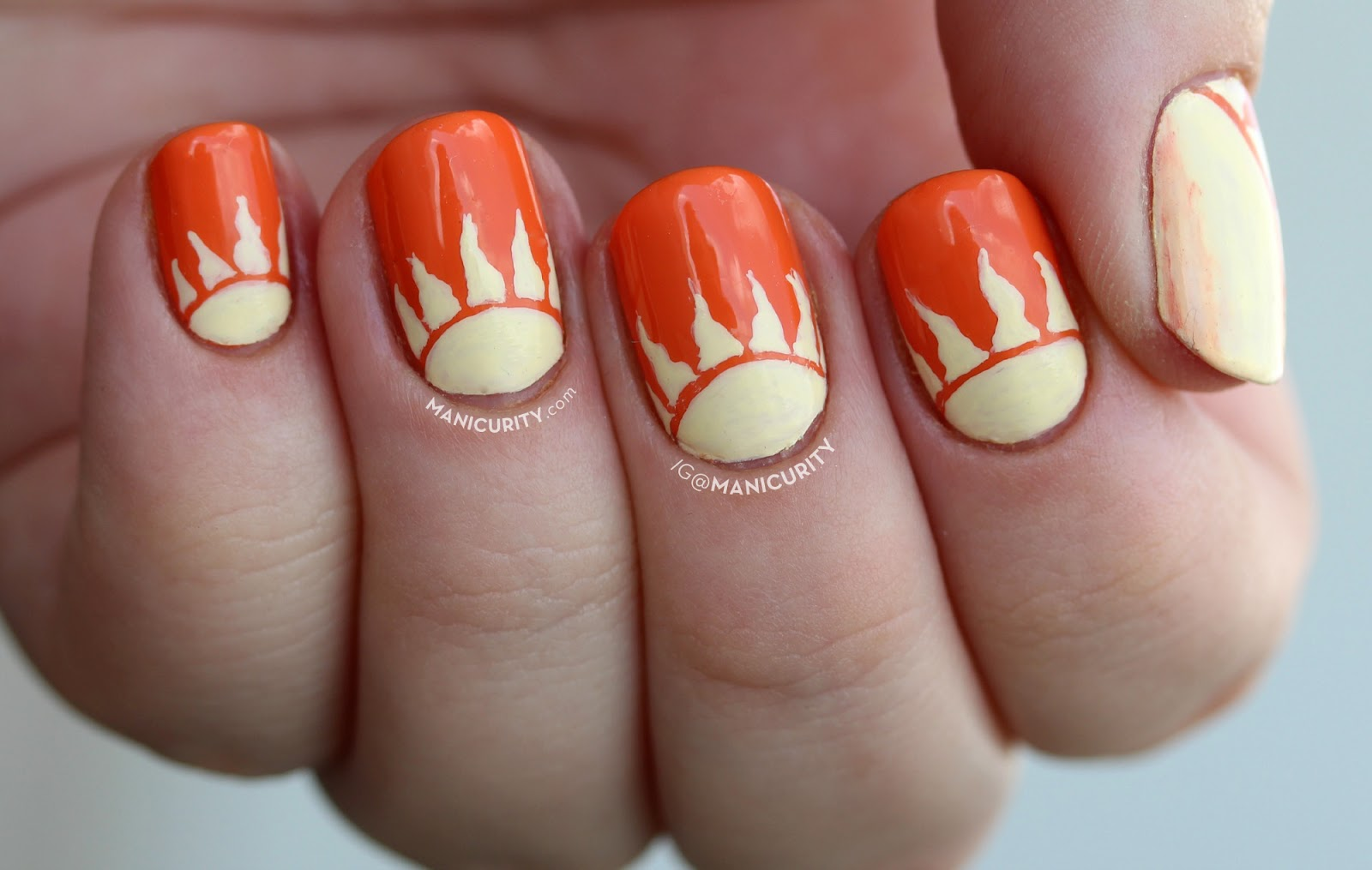 The Digit-al Dozen does Brands: Kiss My Face Sunscreen nail art - sunshine, sun half-moon (half-sun?) nails | Manicurity.com